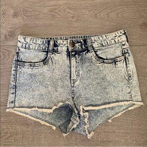 H&M light blue denim wash high waisted jean shorts